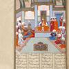 Khusrau Parvîz, seated on the throne at Madâ'în, is surrounded by courtiers, including a cook in a big white hat and white robe.