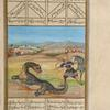 Bahrâm Chûbînah kills the dragon that has devoured the daughter of the Khâqân of Chîn.