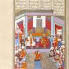 Siyâvush and Afrâsiyâb feasting on the occasion of Siyâvush's marriage to Farangîs.