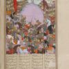 The troops of Afrâsiyâb attack the Iranian retainers of Siyâvush.