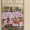 Rustam, having killed Afrâsiyâb's horse with his spear, attacks the Tûrânian leader.