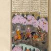 Gîv, dressed in a tiger-skin coat and helmet, leads the young Kay Khusrau and his mother Farangîs across the Oxus.