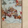 A party of Iranian soldiers with drawn swords chases Farûd, who defends himself with a mace.
