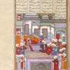Afrâsiyâb, who has dreamed of his defeat by the Iranians asks his sages to interpret his dream.