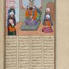Zahhak enthroned, surrounded by five courtiers.