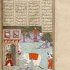 Rustam, fully armed and wearing his traditional tiger-skin coat and leopard hat, comes out through a gateway to kill an enraged white elephant that has trampled its keeper.