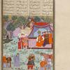 Rustam captures the King of Mâzandarân and takes him before the tent of Kay Kâ'ûs.