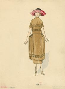 [Brown dress and pink hat, France, 1920.]