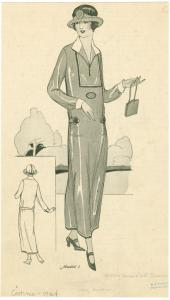 [Woman in daywear holding purse, front and back views.]