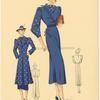 Ensemble d'après-midi : robe en soie unie, garniture et paletot 7/8 en soie imprimée.