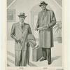 Pinstripe suit and herringbone topcoat]