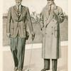 Twill sports jacket and double-breasted overcoat]