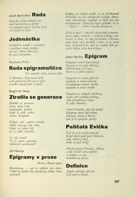 Josef Bartuška, Fischers Fritz, Siegfried Hass, Jiří Holub, Josef Spilka [básně, epigramy, etc.]