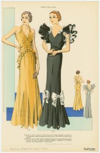 [Women in  formal evening gowns, front and back views.]