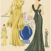 Women in  yellow and black evening gowns, front and back views