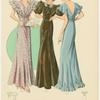 Three women wearing formal dresses.]