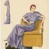 Robe du soir en crêpe mat violet vif ; façon tunique très moderne.