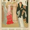 Women and man in evening attire standing at bar.]