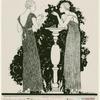 Women in evening gowns standing near pedestal.]