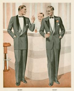 [Two men in tuxedoes drinking and conversing at bar.]