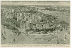 Bird's-eye view of the southern part of New York, legally designated the borough of Manhattan.