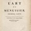 L'art du menuisier, Premiere partie, [Title page]