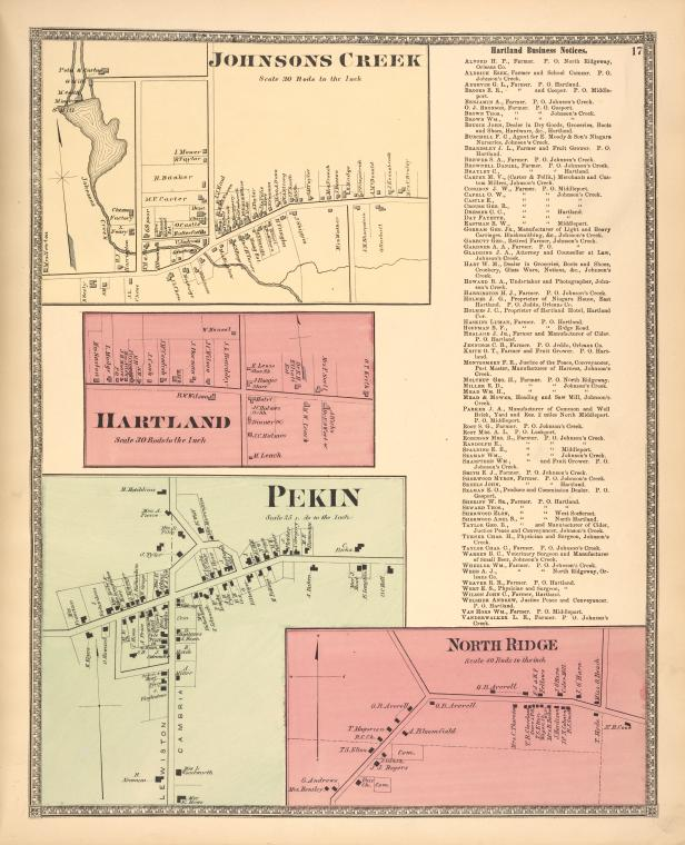 Johnsons Creek [Village]; Hartland [Village]; Pekin [Village]; North Ridge [Village]; Hartland Business Notices.