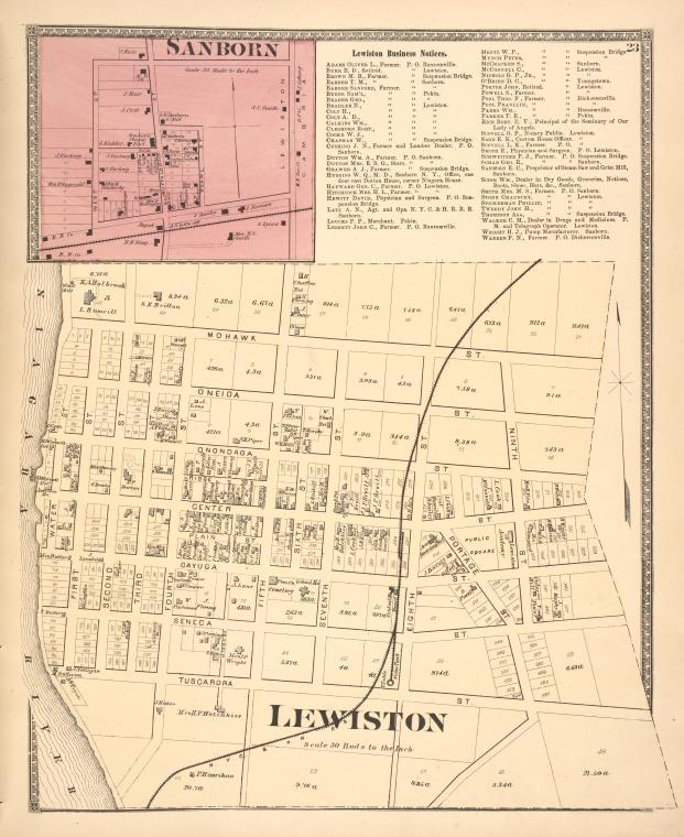 Sanborn [Village]; Lewiston Business Notices. ; Lewiston [Village]