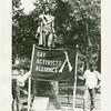GAA members with banner in front of Nathan Hale statue, City Hall, New York City