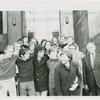 """Rockefeller Five"" pose with supporters in front of Manhattan Criminal Court building, 1970 Sep 29"