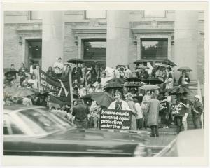 Protest at Bridgeport, Connecticut City Hall, 1971 Jul 30