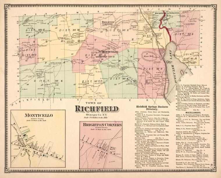 Richfield Springs Business Directory. ;Town of Richfield, Otsego Co. N.Y. [Township]; Brighton Corners [Village]; Monticello [Village]