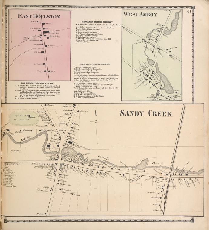 East Boylston [Village]; East Boylston Business Directory. ; West Amboy Business Directory. ; Sandy Creek Business Directory. ; West Amboy [Village]; Sandy Creek [Village]