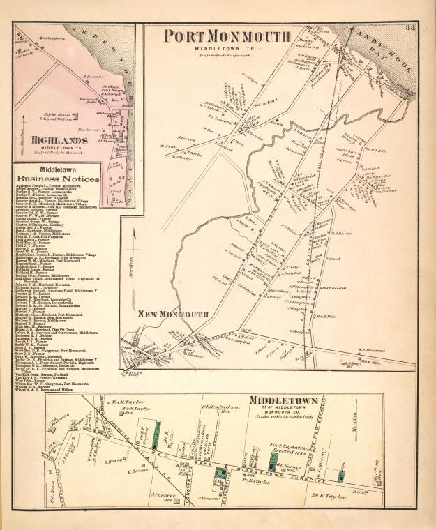 Highlands [Village]; Middletown Business Notices. ; Port Monmouth [Village]; Middletown [Village]