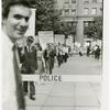 Leo Skir in front of picket line