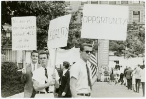 [Men in picket line] / Kay Tobin Lahusen