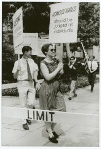 [Barbara Gittings and Randy Wicker in picket line] / Kay Tobin Lahusen