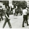 Men in picket line