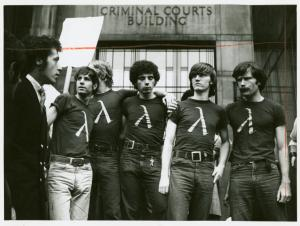 [The Rockefeller 5 in front of the Criminal Courts building] / Kay Tobin Lahusen