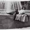 Sylvia Rivera in front of fountain