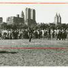 """Group playing """"red rover"""" in Sheep Meadow"""