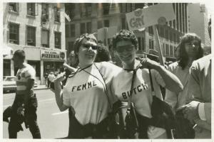 [Nancy Tucker and partner in Butch-Femme t-shirts] / Kay Tobin Lahusen