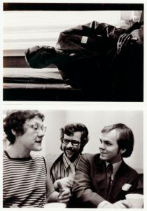 [Barbara Gittings with fellow conference-goers; Reverend Robert W. Wood at window] / Kay Tobin Lahusen