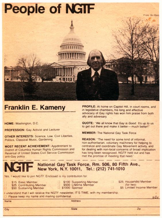 """[Frank Kameny in """"People of NGTF"""" ad] / Creator unknown"""
