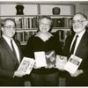 Elliot Shelkrot, Barbara Gittings, and Steven Jay at presentation of gay books to the Free Library of Philadelphia, early 1991