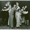 Unidentified actress, John Battles, Betty Comden, Adolph Green, Chris Alexander, and Nancy Walker in the stage production On the Town