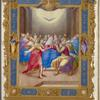 Full-page miniature of Pentecost.  Elaborate full border with human figures