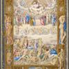 Full-page miniature, in elaborate full border including human figures.