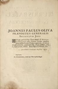 Joannes Paulus Oliva, Praepositus Generalis Societatis Jesu.