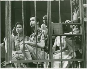 Production still, Christine Spencer, Ed Hall and Louis Gossett Jr.